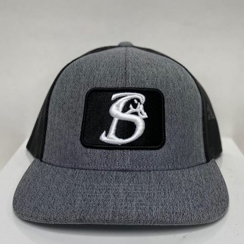 HEATHER GREY AND BLACK PATCH HAT